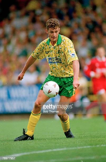 28th August 1993Premiership Norwich City 0 v Swindon Town 0 Norwich City's Chris Sutton on the ball Chris Sutton gained 1 England international cap...