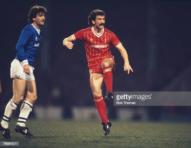 28th March 1984 Milk Cup Final Replay at Maine Road Liverpool 1 v Everton 0 Liverpool's Graeme Souness scores the winning goal as Everton's Kevin...