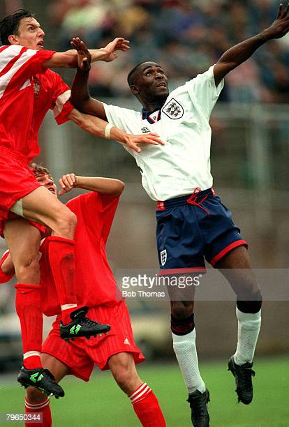 28th May 1993 Under21 International at Jaztrezebie Poland v England England Under21 striker Andy Cole jumping with the Polish defenders Andy Cole...