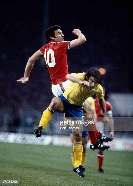 29th April 1981 World Cup Qualifier at Wembley England 0 v Romania 0 England's Trevor Brooking outjumps Romania's Nicolae Negrila