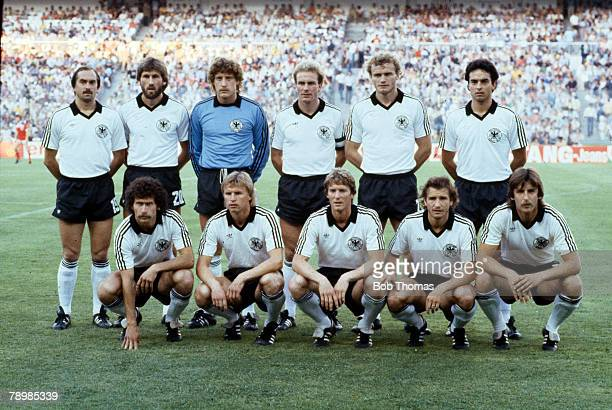 29th June 1982 1982 World Cup Finals in Spain England 0 v West Germany 0 in Madrid West Germany team group Back row leftright Uli Stielike Manny...