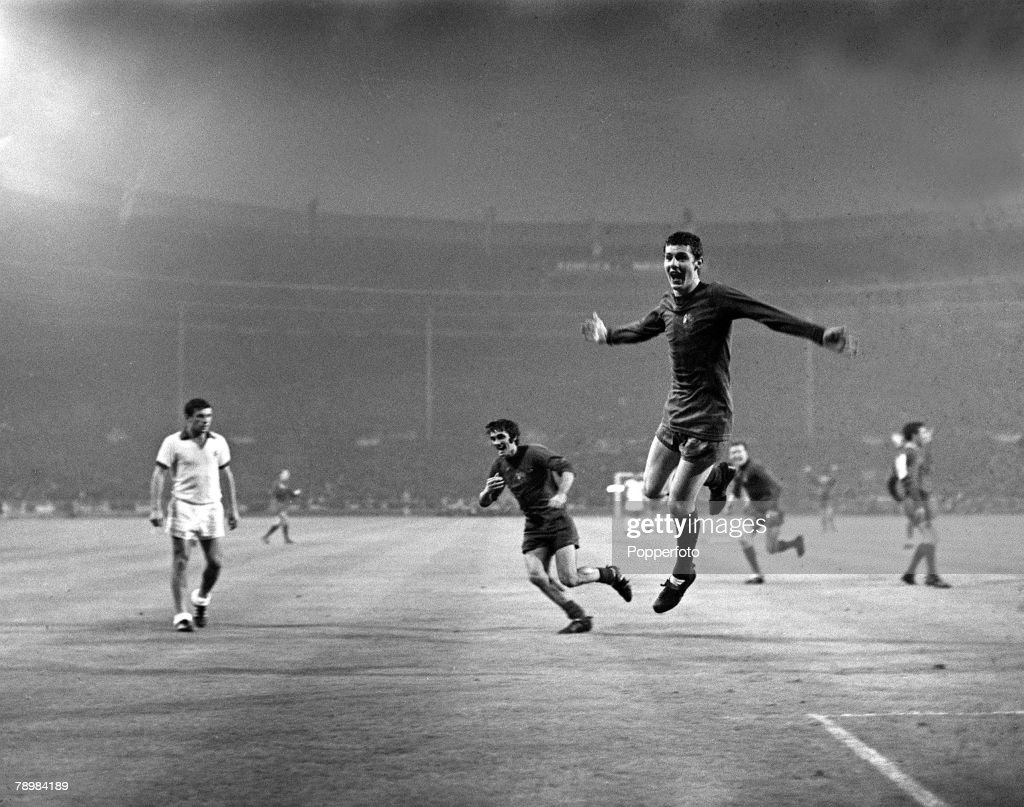 29th May 1968 European Cup Final at Wembley Manchester United 4v Benfica 1 aet Manchester United's Brian Kidd celebrates after scoring the 3rd goal...