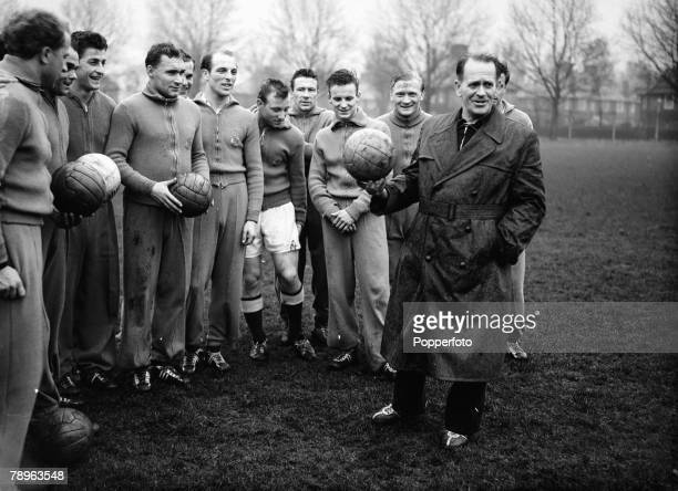 29th November 1954 West German football Coach Sepp Herberger right with his players after training in London prior to their international match at...