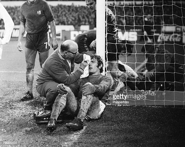 29th November 1970 Division 1 Chelsea v Tottenham Hotspur at Stamford Bridge Tottenham Hotspur goalkeeper Pat Jennings receives treatment for an...