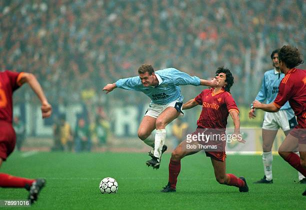 29th November 1992 Italian League Serie A Lazio 1v Roma 1 Lazio's Paul Gascoigne on an attacking run as a Roma defender takes a blow in the face Paul...