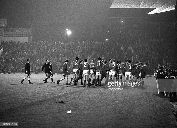 2nd October 1968 European Cup 1st Round 2nd Leg Manchester United 7 v Waterford 1 Manchester United players line up to applaud the Waterford players...