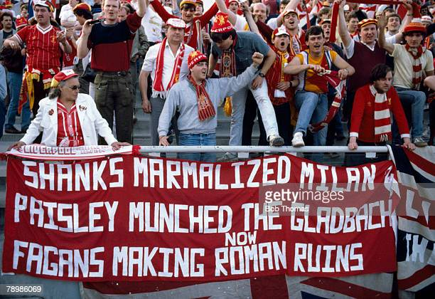 30th May 1984 European Cup Final in Rome Roma 1 v Liverpool 1 after extra time Liverpool fans in the Olympic Stadium with an amusing giant banner