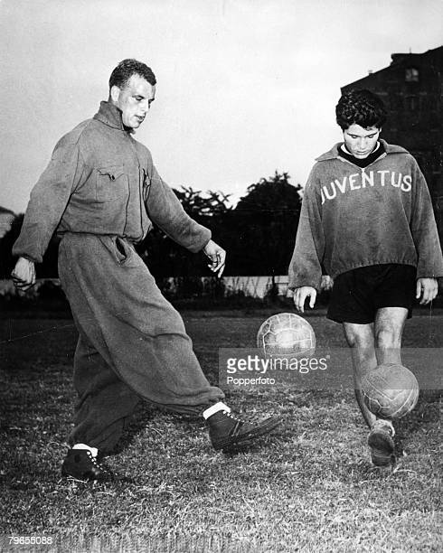 31st December 1957 Turin Italy Juventus and Wales international John Charles left a 65000 signing for the Juventus club ball juggling with teammate...