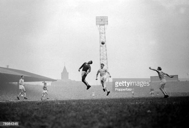 31st December 1960 Division 1 Manchester United 5v Manchester City 1 at Old Trafford Manchester United's Alex Dawson stretches for a high ball as...