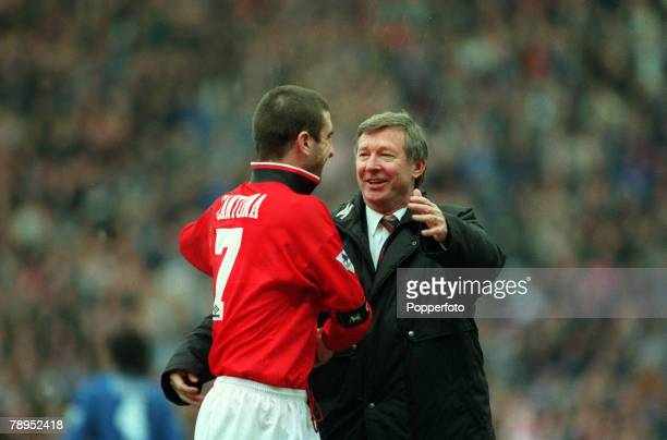 31st January 1996 FACup SemiFinal at Villa Park Machester United 2v Chelsea 1 Manchester United Manager Alex Ferguson celebrates the victory with his...
