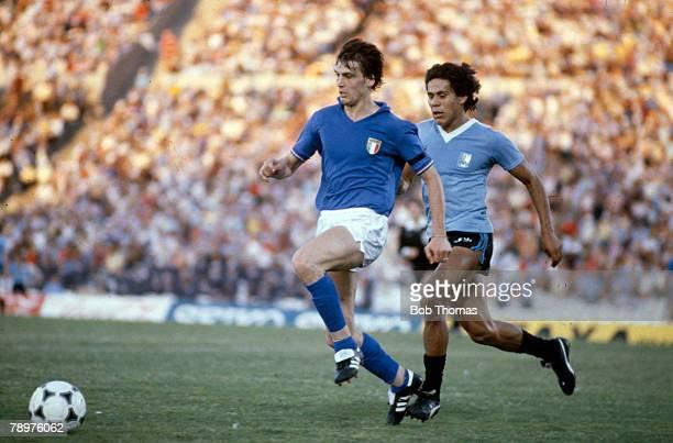 3rd January 1981 Copa De Oro Uruguay 2 v Italy 0 Italy's Marco Tardelli is chased by Uruguay's Ruben Paz