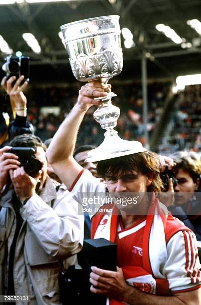5th April 1987 Littlewoods Cup Final at Wembley Arsenal 2v Liverpool 1 Arsenal's 2 goal hero Charlie Nicholas with the Littlewoods Cup during the...