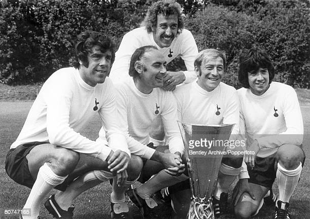5th August 1972 Tottenham Hotspur's leftright Mike England Alan Gilzean Ralph Coates Joe Kinnear and behind Martin Chivers pose with the UEFA Cup