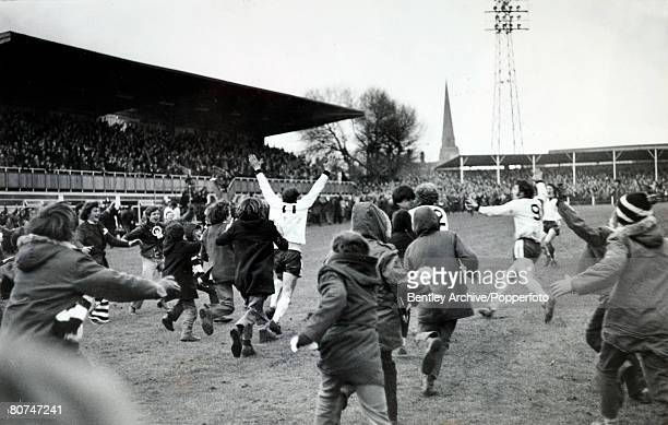 5th February 1972 FA Cup 3rd Round Replay at Edgar Street Hereford Hereford United 2 v Newcastle United 1 aet Hereford fans and players rush to the...