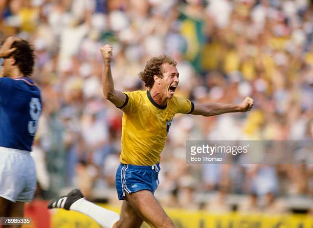 5th July 1982 1982 World Cup Finals in Spain Italy 3 v Brazil 2 in Barcelona Brazil's Paulo Falcao celebrates after scoring Brazil's 2nd goal