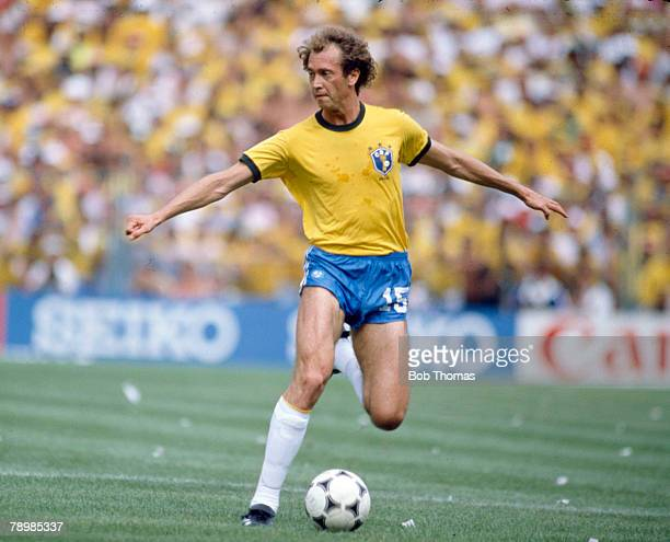 5th July 1982 1982 World Cup Finals in Spain Italy 3 v Brazil 2 in Barcelona Brazil's Paulo Falcao on the ball