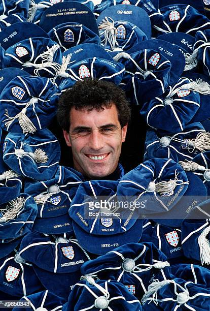 5th June 1989 England international goalkeeper Peter Shilton pictured with some of his caps and when receiving his 109th cap v Denmark he passed...