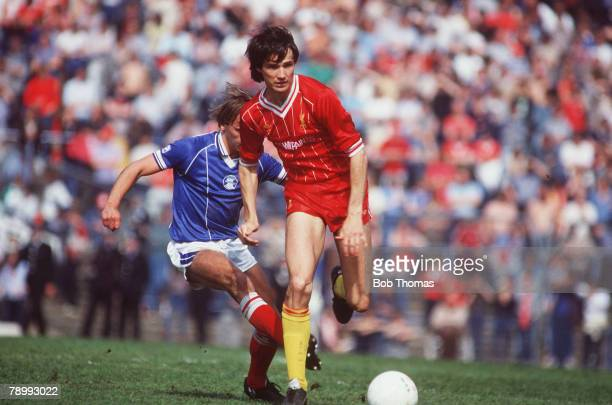 5th May 1984 Division 1 Birmingham City 0 v Liverpool 0 Liverpool's Alan Hansen evades a tackle from Birmingham City's Robert Hopkins