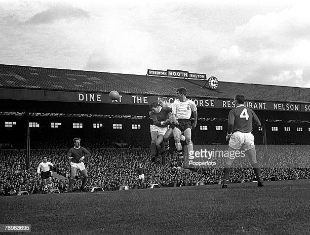 5th October 1963 Division 1 Bolton Wanderers 0v Manchester United 1 at Burnden Park Manchester United defender Bill Foulkes jumps with Bolton...