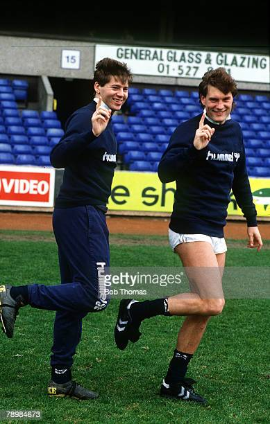 6th April 1987 Tottenham Hotspur footballers Chris Waddle and Glenn Hoddle right who have joined forces to make a pop record