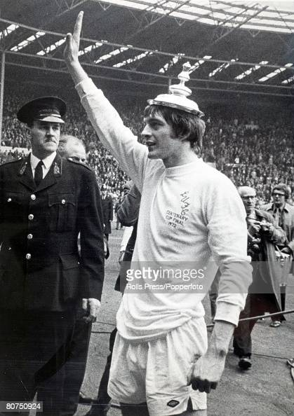 6th May 1972 FA Cup Final at Wembley Leeds United 1 v Arsenal 0 Leeds United striker Alan Clarke who scored the winning goal wears the lid of the...