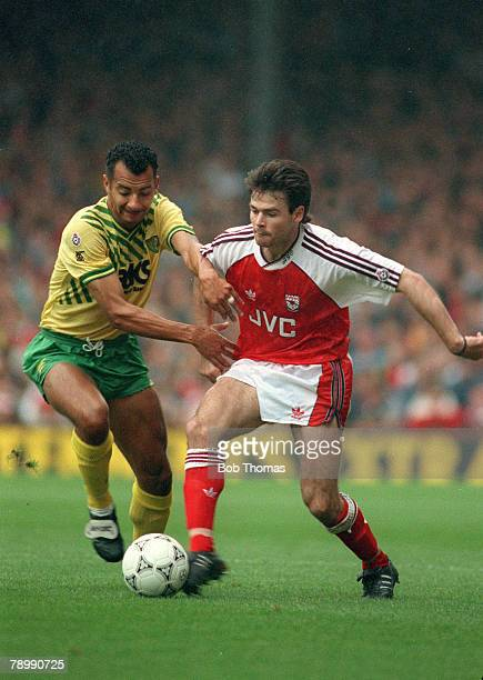 6th October 1990 Division 1 Arsenal 2 v Norwich City 0 Norwich City's Dale Gordon contests the ball with Arsenal's Anders Limpar