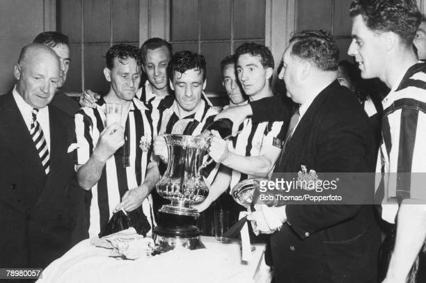 7th May 1955 FA Cup Final at Wembley Newcastle United 3 v Manchester City 1 Newcastle United celebrating in the dressing room Bobby Cowell Vic Keeble...