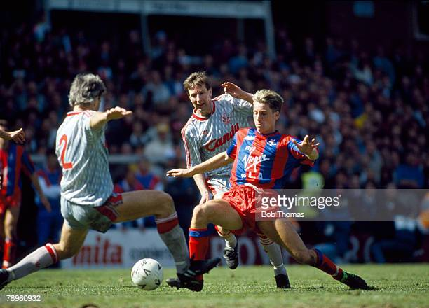 8th April 1990 FA Cup SemiFinal at Villa Park Crystal Palace 4 v Liverpool 3 aet Alan Pardew Crystal Palace centre is challenged by Liverpool's Glenn...