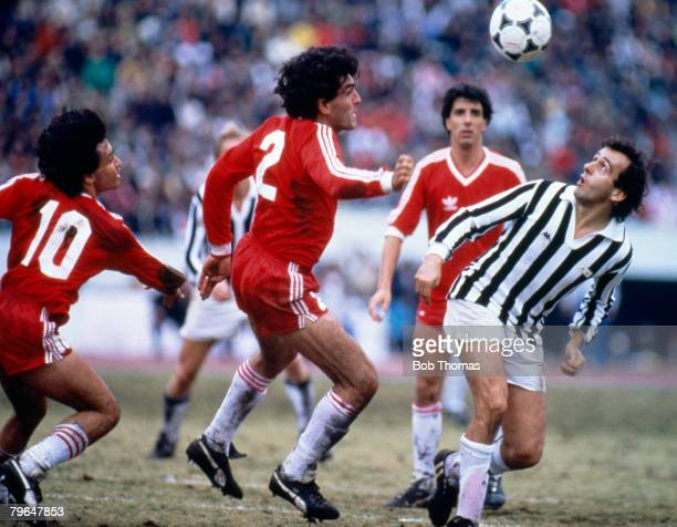 8th December 1985 World Club Championship in Tokyo Juventus beat Argentinos Juniors on penalties Juventus' Michel Platini right with Juniors' Jose...