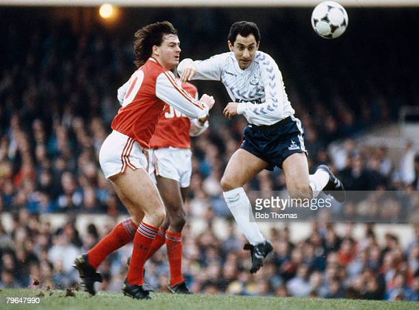 8th February 1987 Littlewoods Cup SemiFinal 1st LegTottenham Hotspur 1 v Arsenal 0 Arsenal striker Charlie Nicholas beaten to the ball by Tottenham...