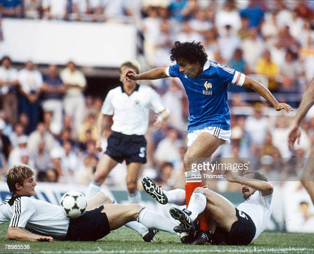 8th July 1982 World Cup SemiFinal in Seville West Germany 3 v France 3 West Germany win on penalties France's Michel Platini takes on West Germany's...
