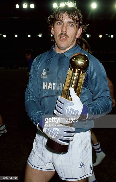 8th May 1985 Division 1 Everton goalkeeper Neville Southall holds the League Championship trophy Neville Southall played for Everton 19811998 and...