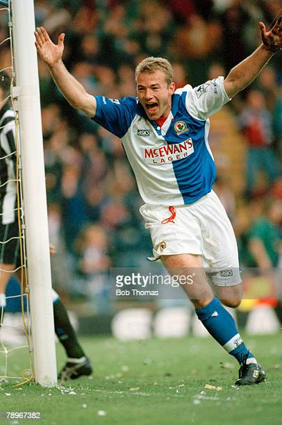 8th May 1995 Premier League Blackburn Rovers 1 v Newcastle United 0 Blackburn Rovers striker Alan Shearer celebrates after scoring the winning goal...