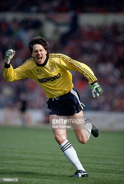 9th April 1989 Littlewoods Cup Final at Wembley Luton Town 1 v Nottingham Forest 3 Luton Town goalkeeper Les Sealey celebrates the sides goal