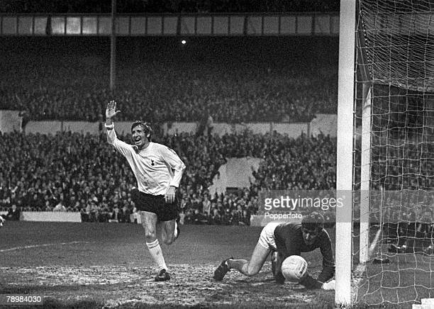 9th October 1968 Division 1 Tottenham Hotspur 2 v Manchester United 2 at White Hart Lane Tottenham Hotspur's Cliff Jones celebrates his goal after...
