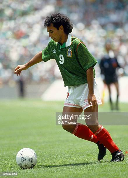 April 1993 World Cup Qualifier Mexico v Canada Mexico striker Hugo Sanchez on the ball