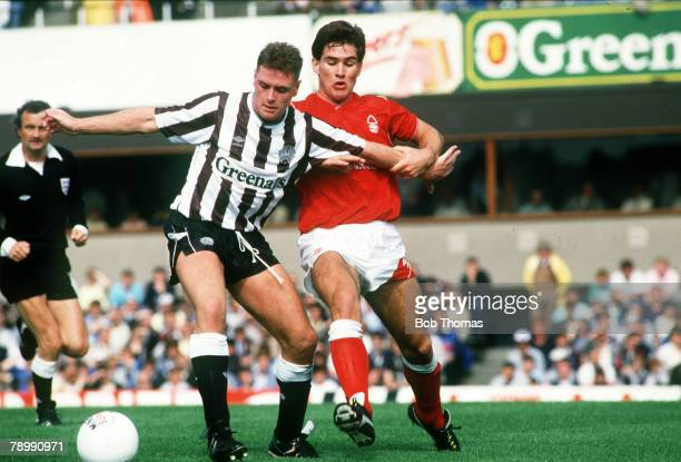 August 1987 Division 1 Newcastle United 0 v Nottingham Forest 1 Newcastle United's Paul Gascoigne is grabbed by the arm by Nottingham Forest's Nigel...