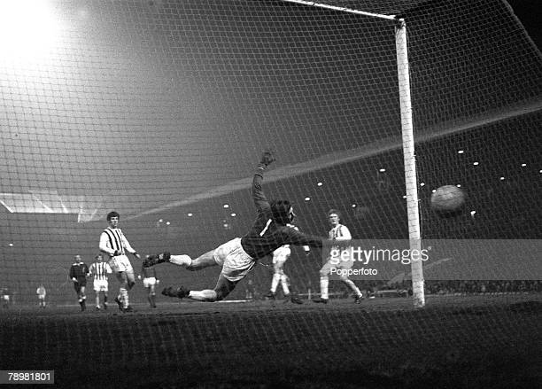circa 1970 Division 1 Manchester United v West Bromwich Albion at Old Trafford Manchester United score against West Bromwich Albion with their...