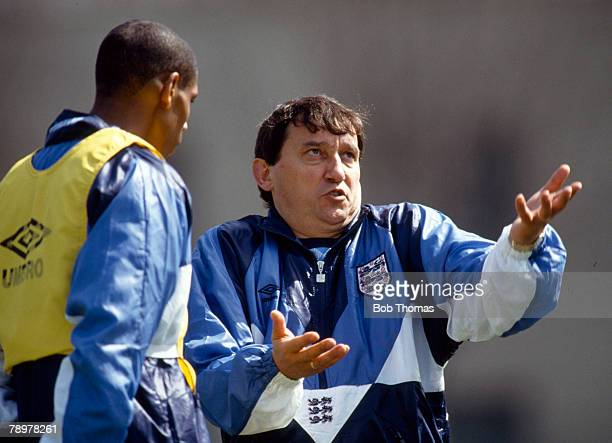 circa 1992 Graham Taylor England Manager in expressive mood as he talks to Carlton Palmer Graham Taylor was the England Manager 19901993