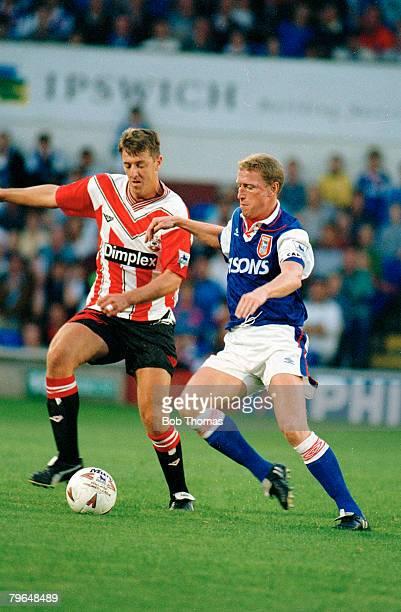 circa 1992 Southampton's Matt Le Tissierleft challenged by Ipswich Town's David Linighan Matt Le Tissier won 8 England international caps between...