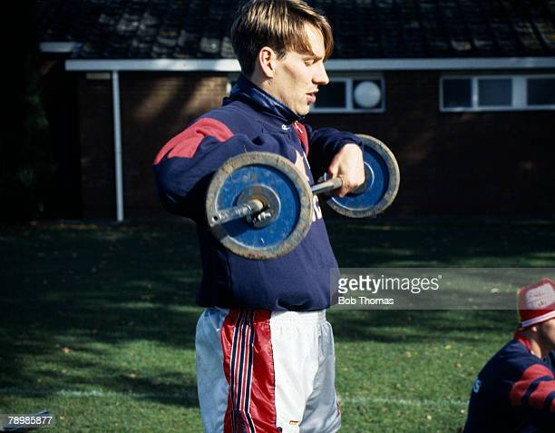 circa 1993 Arsenal's Paul Merson weight training
