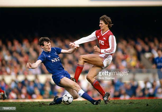 February 1987 Division 1 Arsenal 0 v Everton 1 Everton's Dave Watson left contests the ball with Arsenal's Tony Adams