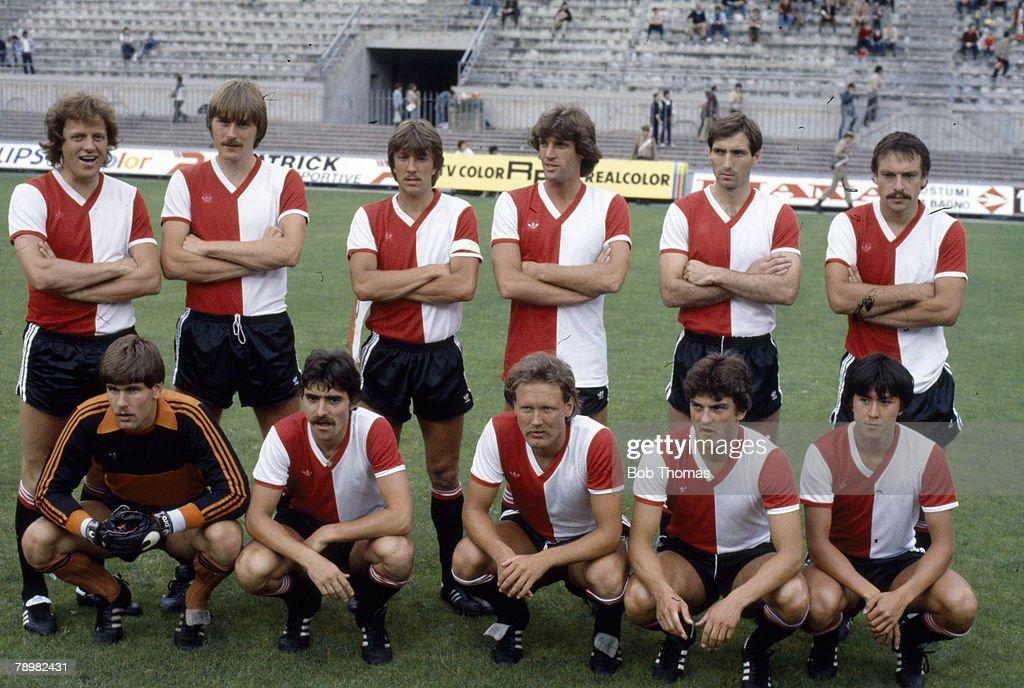June 1981 Coppa Super Clubs Tournament Milan Feyenoord team group some players shown Joop Hiele Arie Haan Ivan Nielsen Rudi Krol