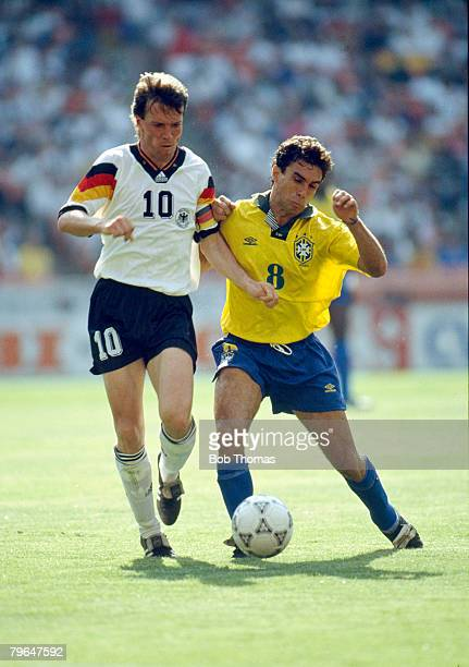 June 1993 Washington USCup Germany 3 v Brazil 3 Germany's Lothar Matthaus in a battle for the ball with Brazil's Luisinho