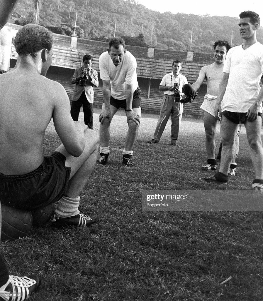 May 1959, England in Brazil, England Manager Walter Winterbottom, centre, at a training session, with some of the team, l-r, Ron Flowers, Norman Deeley and Ron Clayton, while England prepare for the game of 13th May 1959 which they lost to Brazil 2-0