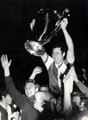 May 1970 European Cup Final in Milan Feyenoord 2 v Celtic 1 Feyenoord players parade the European Cup as Rinus Israel is carried shoulder high