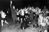 May 1970 European Cup Final in Milan Feyenoord 2 v Celtic 1 Feyenoord players parade the European Cup as a photographer falls over in the excitement