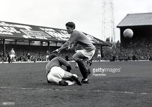 November 1965 Blackpool v Manchester United Blackpool's Alan Ball is foiled by Manchester United goalkeeper Harry Gregg who dives at his feet Alan...