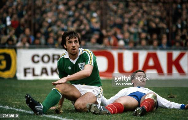 October 1981 World Cup Qualifier in Dublin Republic of Ireland 3 v France 2 Republic of Ireland's Mark Lawrenson with France defender Christian Lopez...