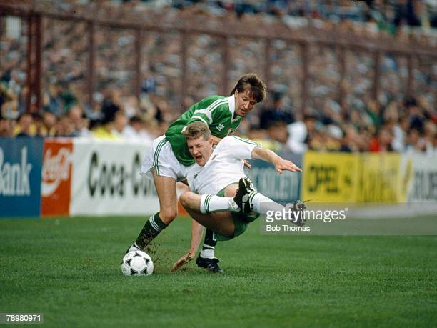 October 1989 World Cup Qualifier in Dublin Republic of Ireland 3 v Northern Ireland 0 Republic of Ireland' s Ronnie Whelan brings down Northern...